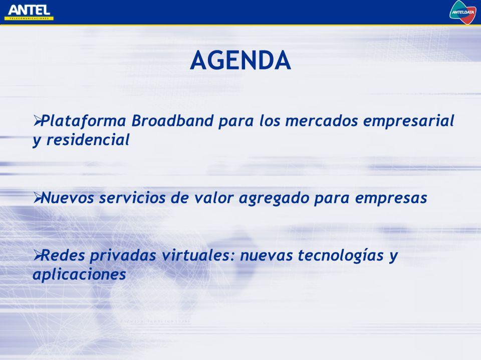 AGENDA Plataforma Broadband para los mercados empresarial y residencial. Nuevos servicios de valor agregado para empresas.