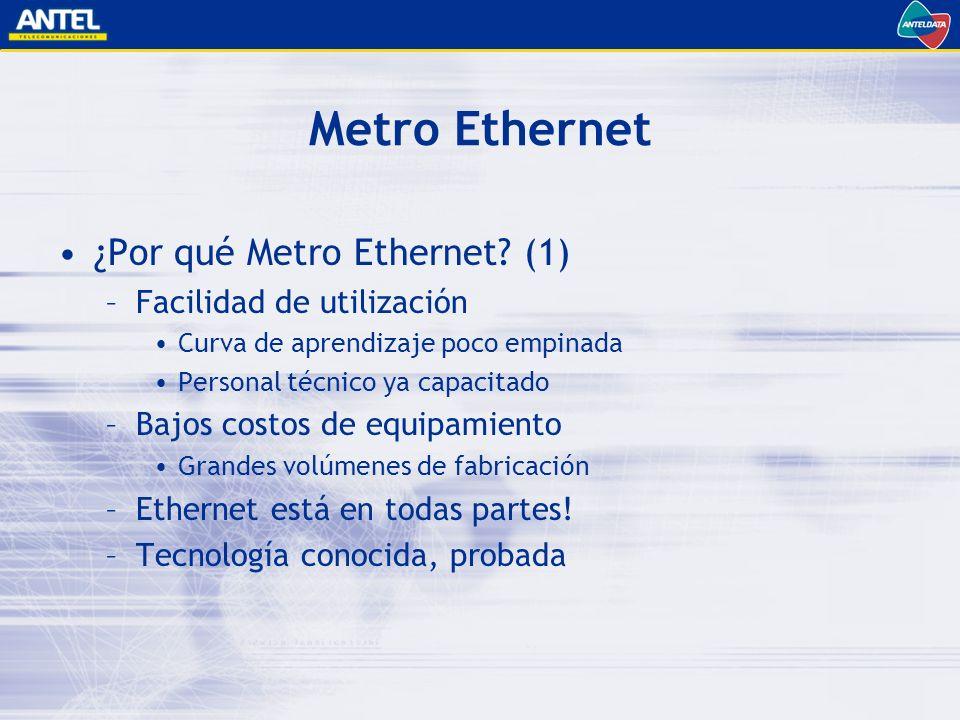 Metro Ethernet ¿Por qué Metro Ethernet (1) Facilidad de utilización