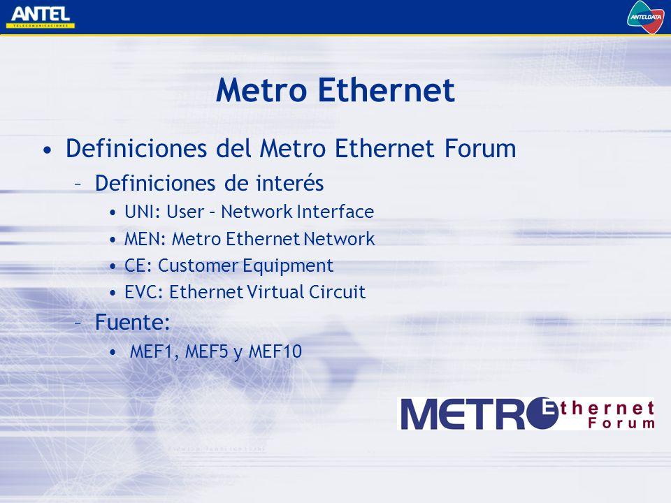 Metro Ethernet Definiciones del Metro Ethernet Forum
