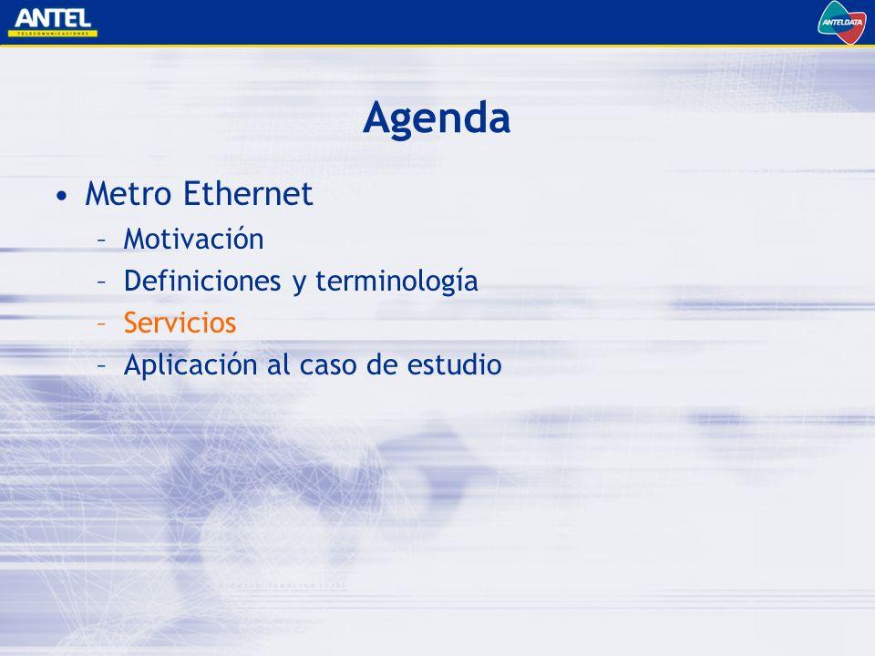 Agenda Metro Ethernet Motivación Definiciones y terminología Servicios