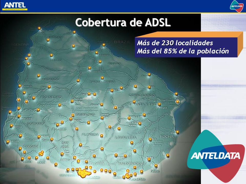Cobertura de ADSL Más de 230 localidades Más del 85% de la población