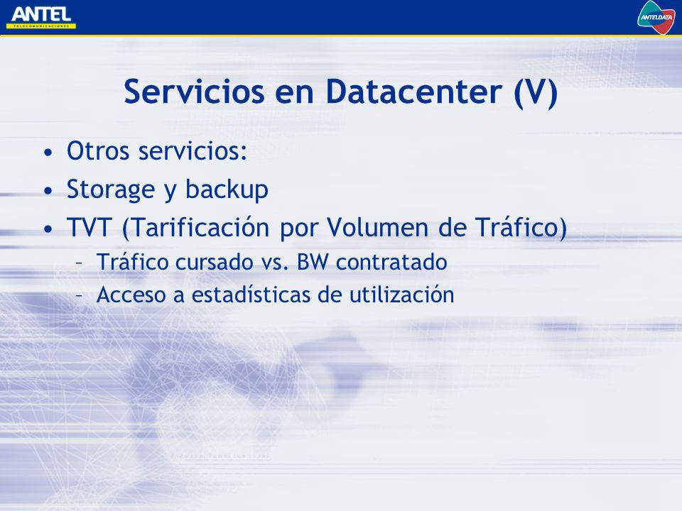 Servicios en Datacenter (V)