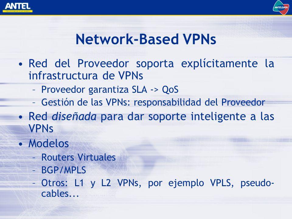 Network-Based VPNs Red del Proveedor soporta explícitamente la infrastructura de VPNs. Proveedor garantiza SLA -> QoS.