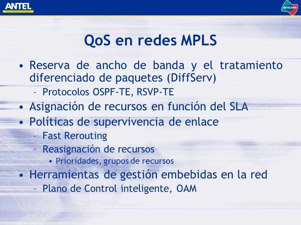 QoS en redes MPLS Reserva de ancho de banda y el tratamiento diferenciado de paquetes (DiffServ) Protocolos OSPF-TE, RSVP-TE.