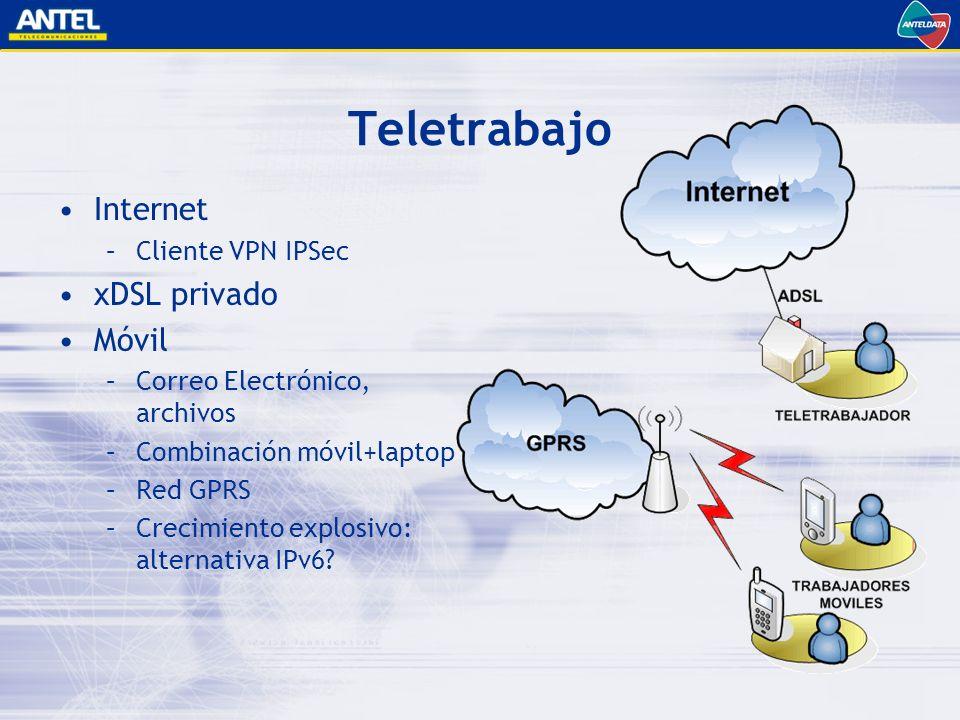 Teletrabajo Internet xDSL privado Móvil Cliente VPN IPSec