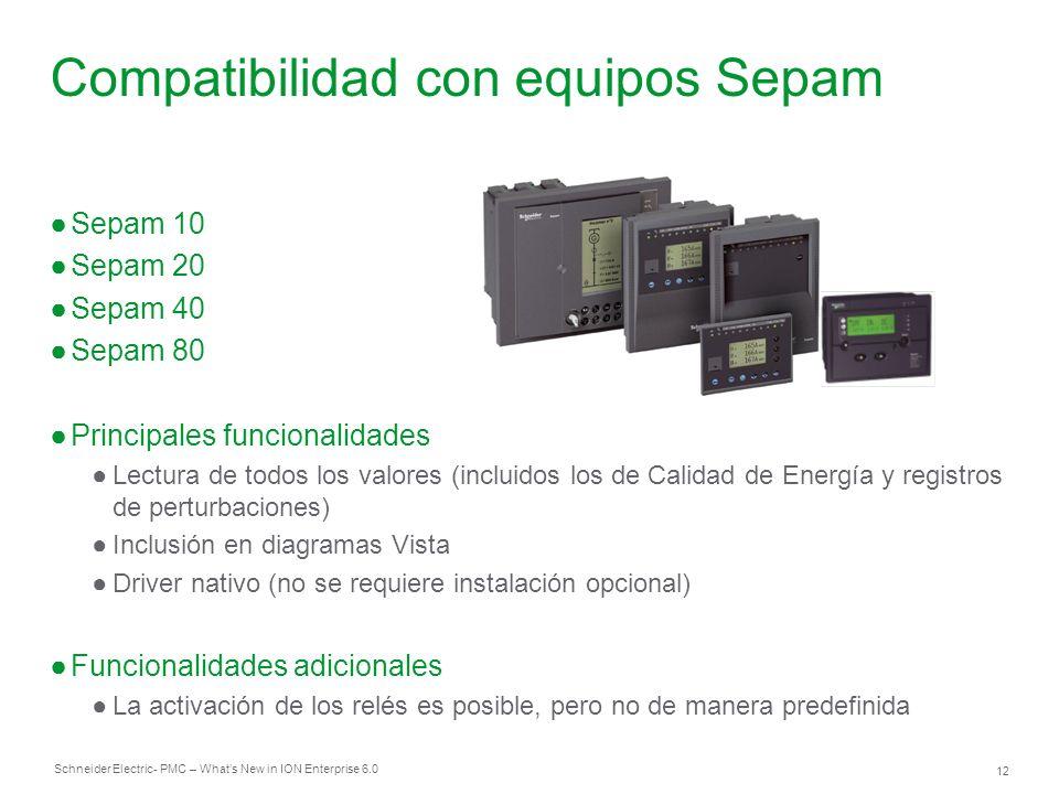 Compatibilidad con equipos Sepam