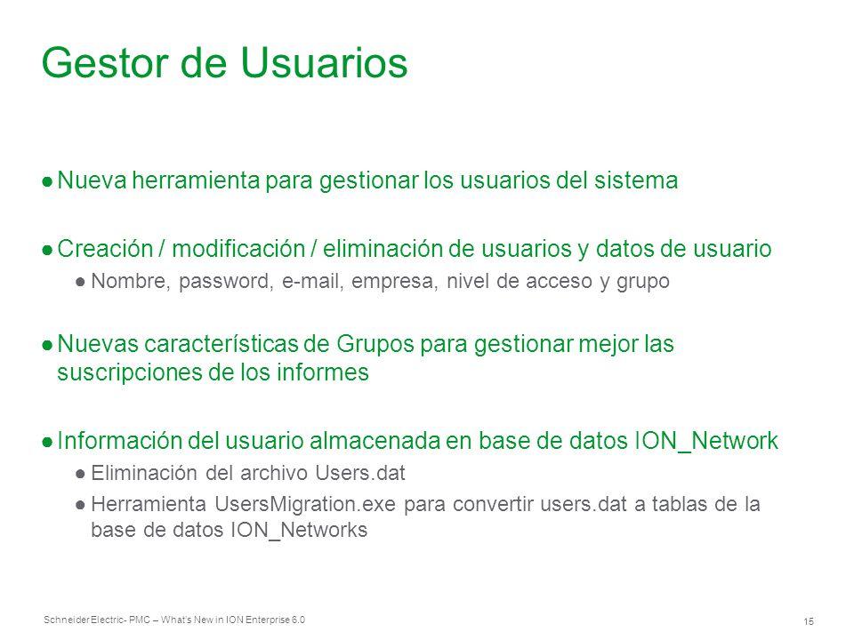 Gestor de Usuarios Nueva herramienta para gestionar los usuarios del sistema. Creación / modificación / eliminación de usuarios y datos de usuario.