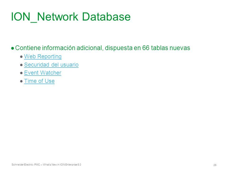 ION_Network Database Contiene información adicional, dispuesta en 66 tablas nuevas. Web Reporting.