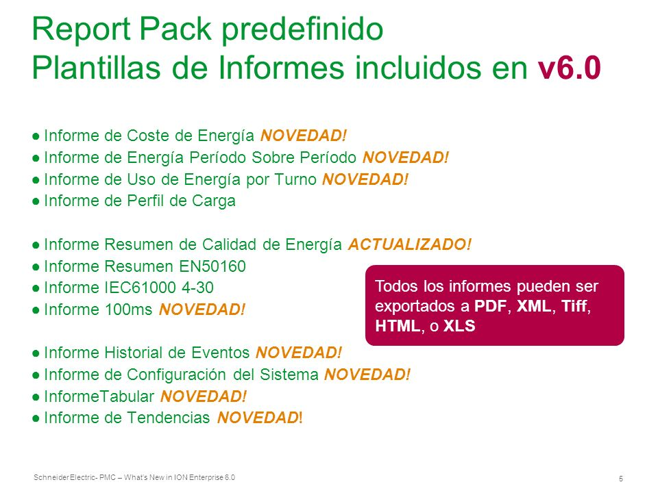 Report Pack predefinido Plantillas de Informes incluidos en v6.0