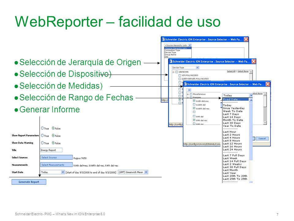 WebReporter – facilidad de uso