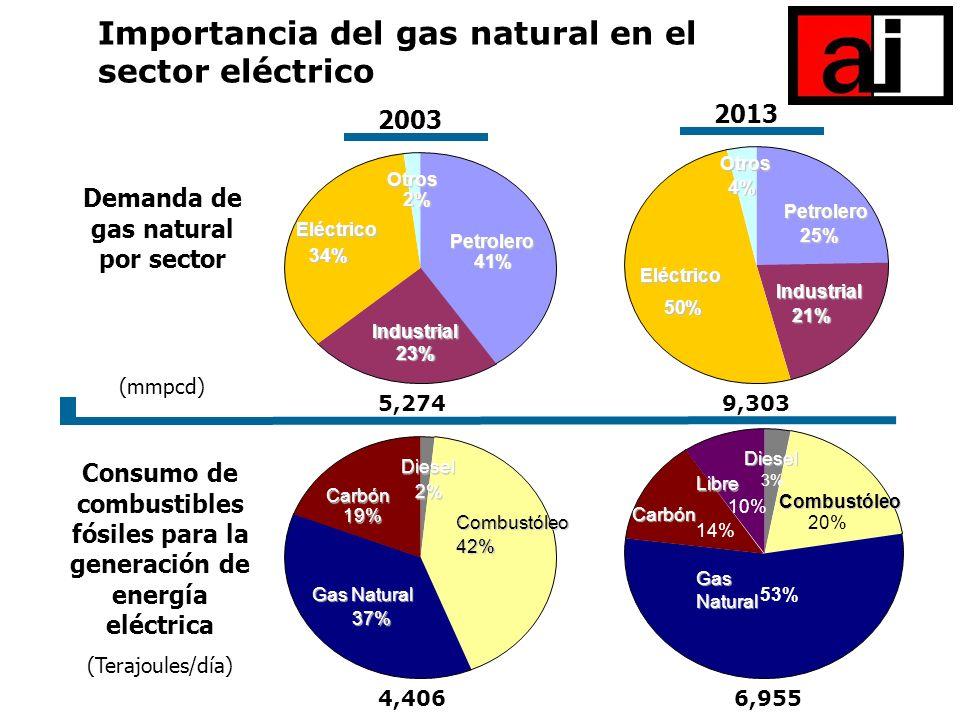 Demanda de gas natural por sector