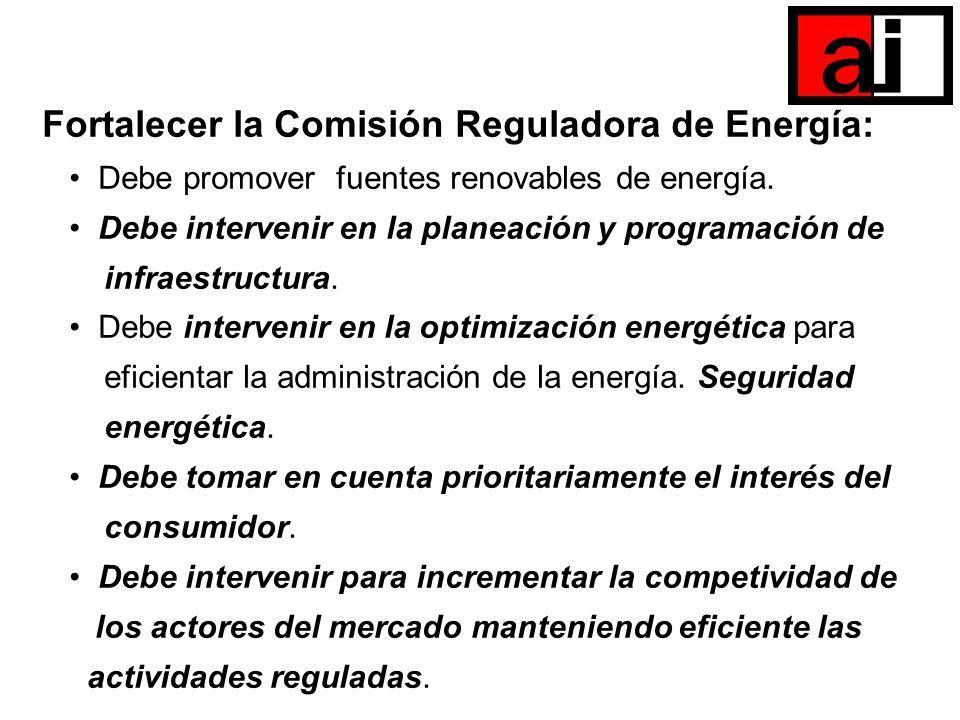 Fortalecer la Comisión Reguladora de Energía: