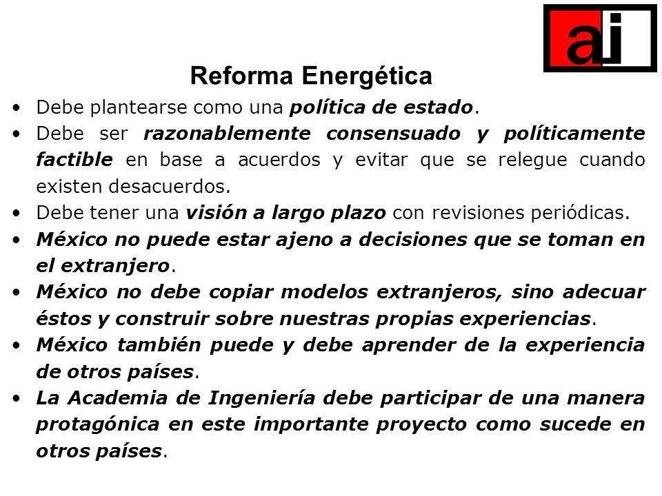 Reforma Energética Debe plantearse como una política de estado.