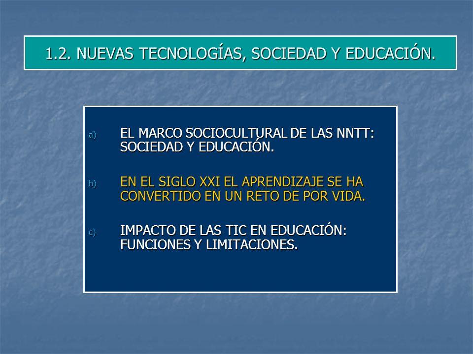 1.2. NUEVAS TECNOLOGÍAS, SOCIEDAD Y EDUCACIÓN.