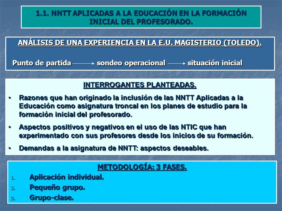 ANÁLISIS DE UNA EXPERIENCIA EN LA E.U. MAGISTERIO (TOLEDO).