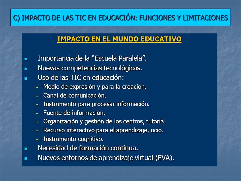 C) IMPACTO DE LAS TIC EN EDUCACIÓN: FUNCIONES Y LIMITACIONES
