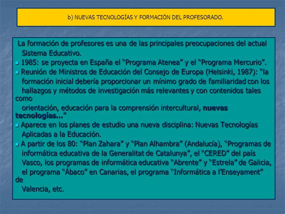 b) NUEVAS TECNOLOGÍAS Y FORMACIÓN DEL PROFESORADO.