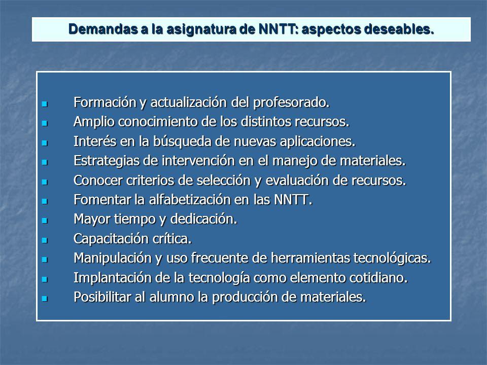 Demandas a la asignatura de NNTT: aspectos deseables.