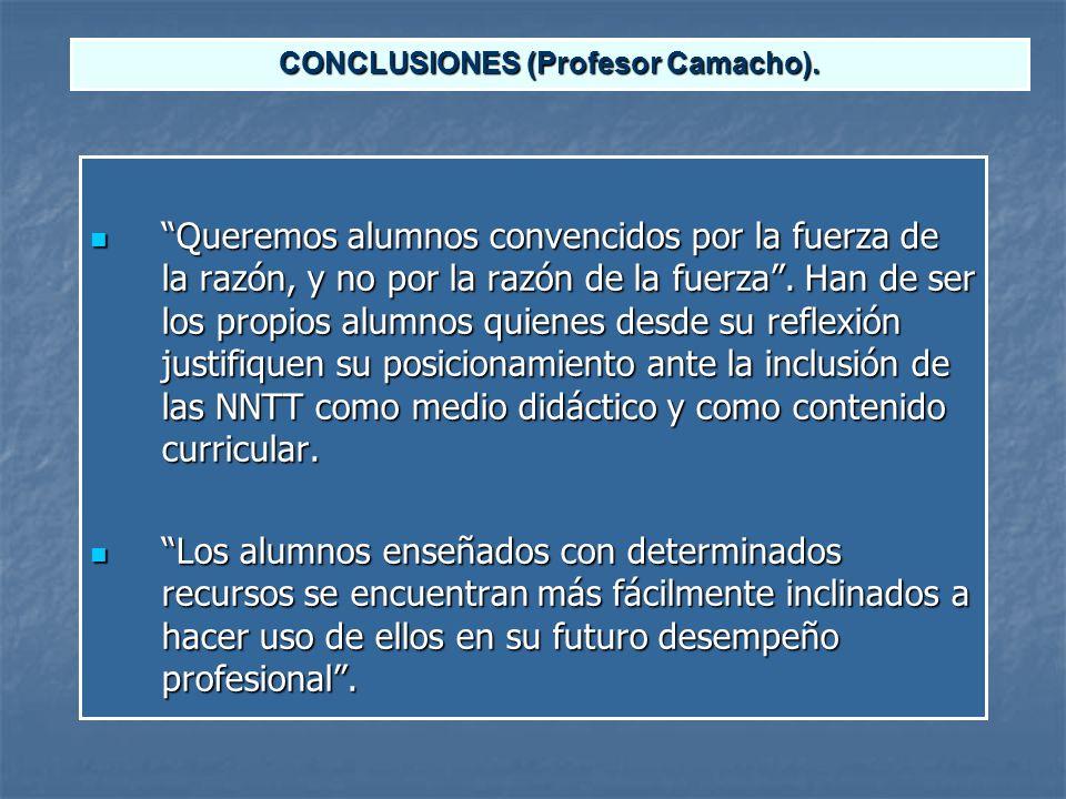 CONCLUSIONES (Profesor Camacho).