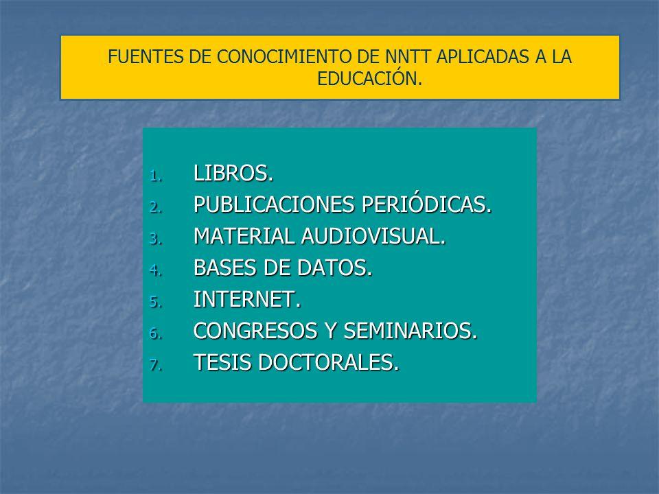FUENTES DE CONOCIMIENTO DE NNTT APLICADAS A LA EDUCACIÓN.