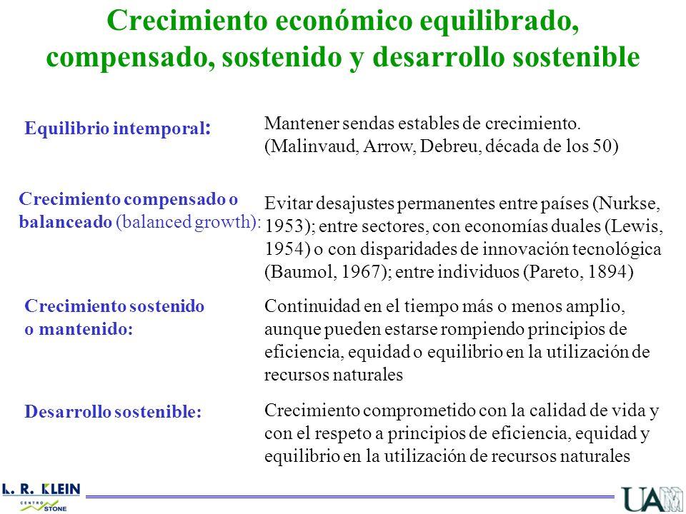Crecimiento económico equilibrado, compensado, sostenido y desarrollo sostenible