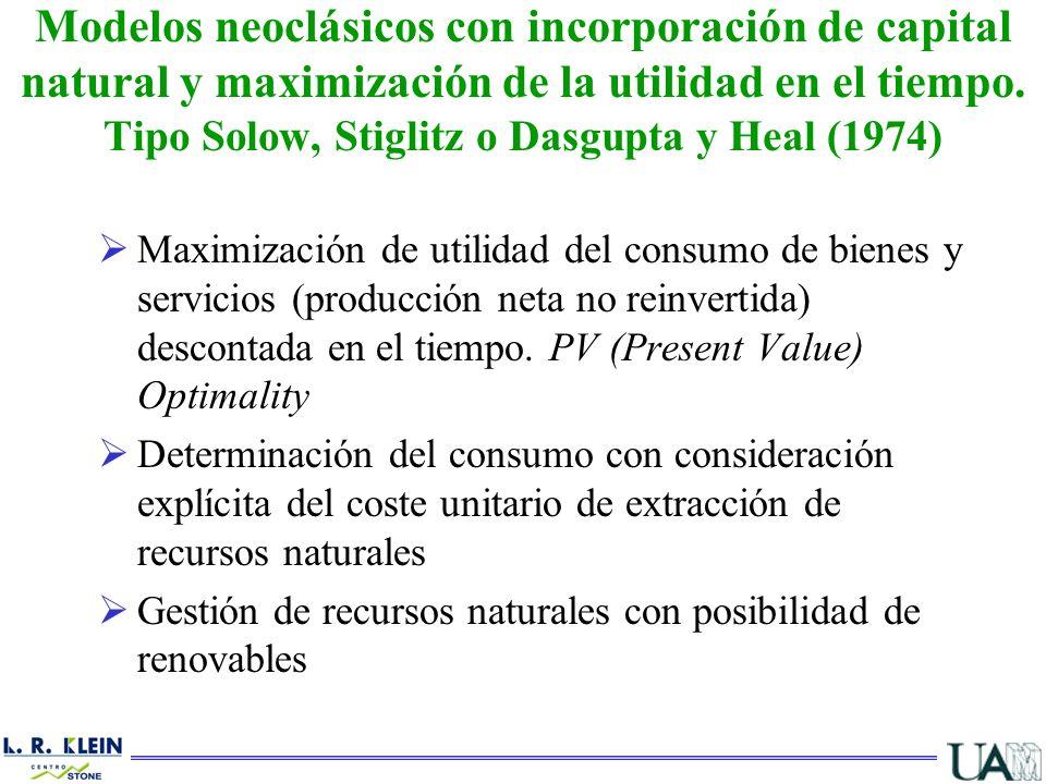 Modelos neoclásicos con incorporación de capital natural y maximización de la utilidad en el tiempo. Tipo Solow, Stiglitz o Dasgupta y Heal (1974)