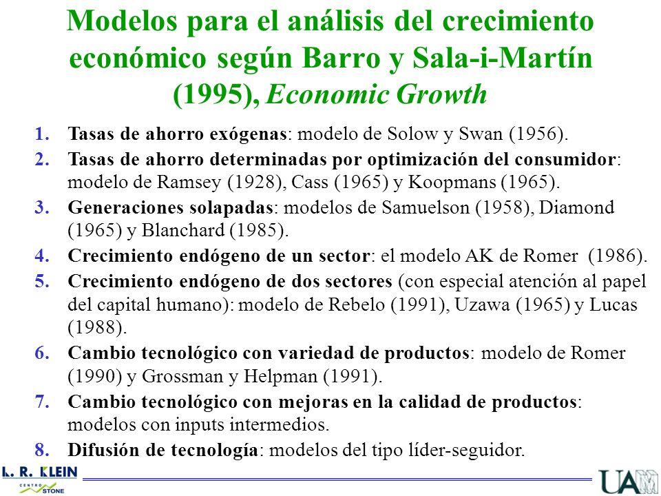 Modelos para el análisis del crecimiento económico según Barro y Sala-i-Martín (1995), Economic Growth