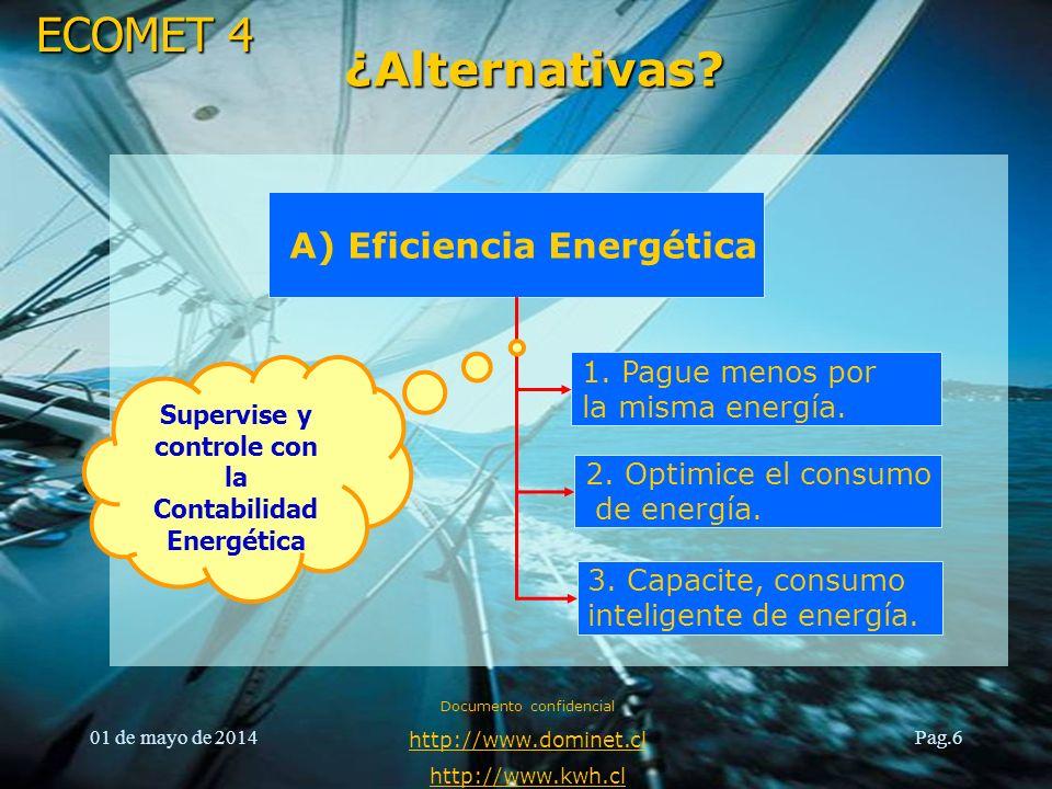 ¿Alternativas A) Eficiencia Energética 1. Pague menos por