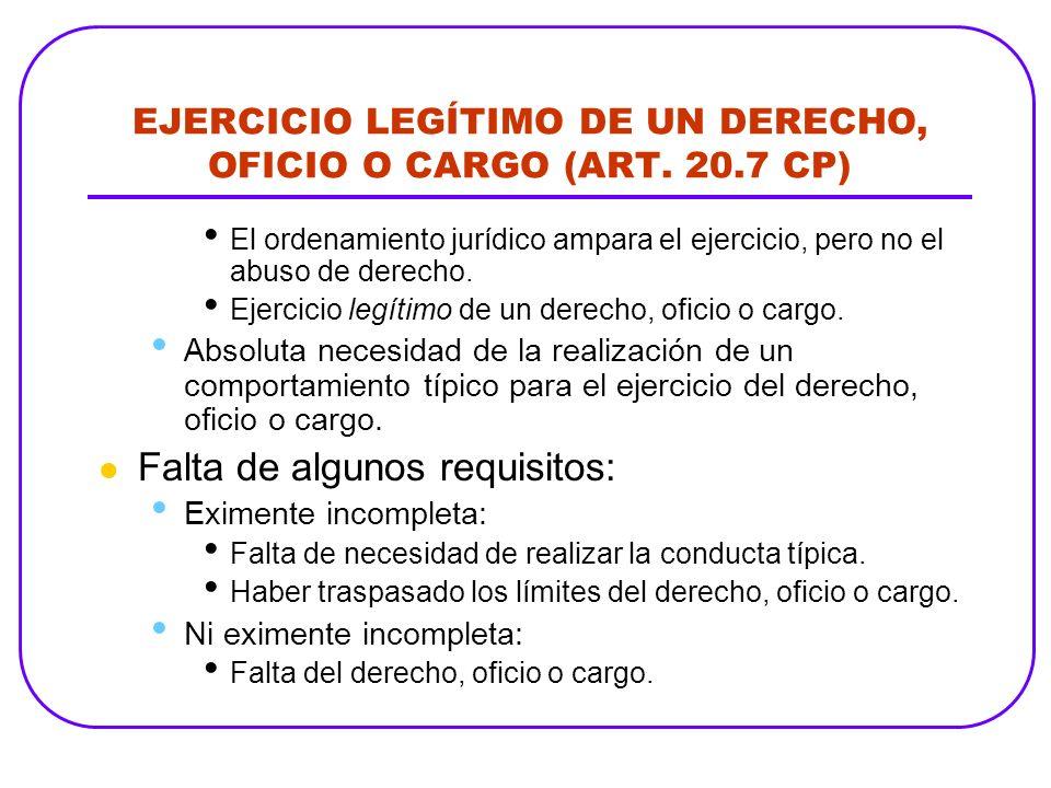 EJERCICIO LEGÍTIMO DE UN DERECHO, OFICIO O CARGO (ART. 20.7 CP)