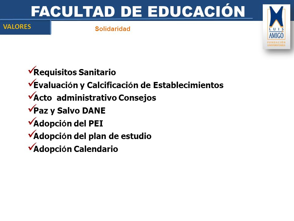 FACULTAD DE EDUCACIÓN Requisitos Sanitario