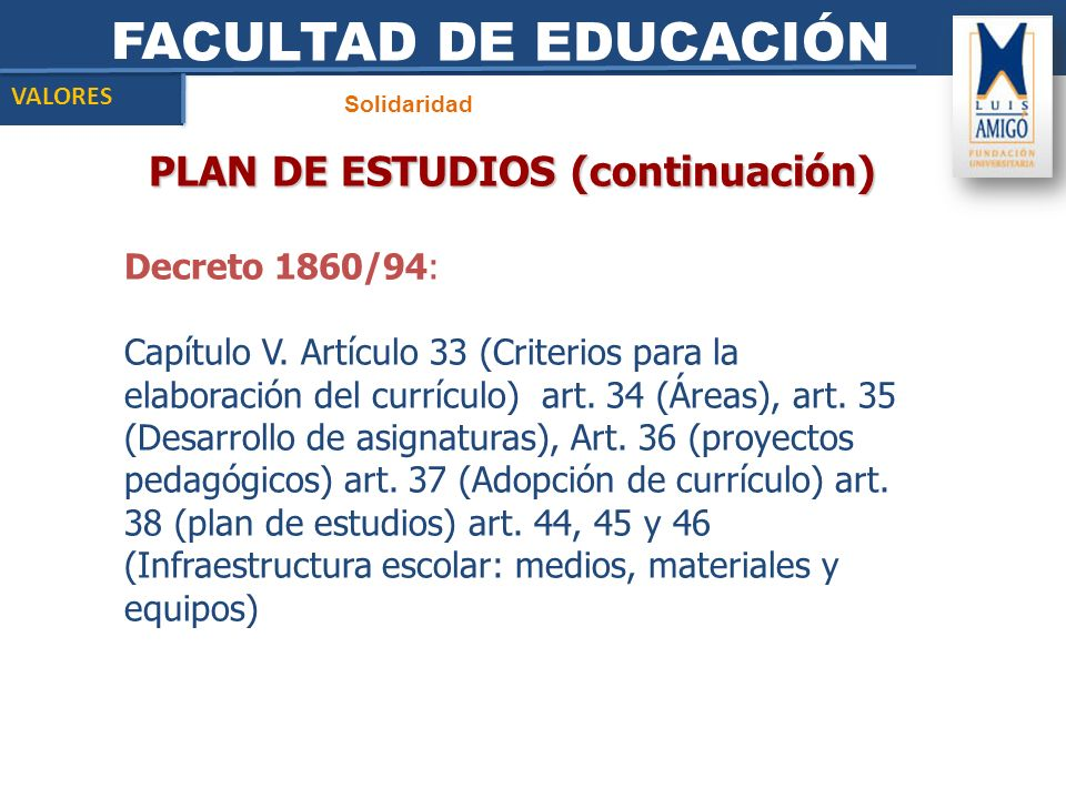 PLAN DE ESTUDIOS (continuación)