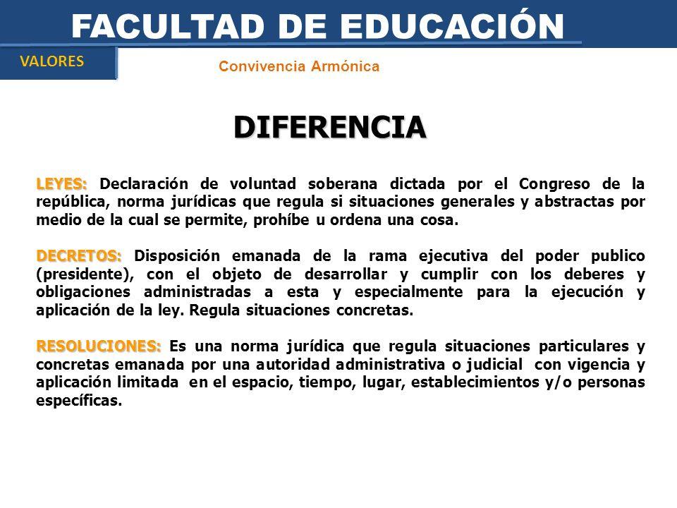 FACULTAD DE EDUCACIÓN DIFERENCIA VALORES Convivencia Armónica