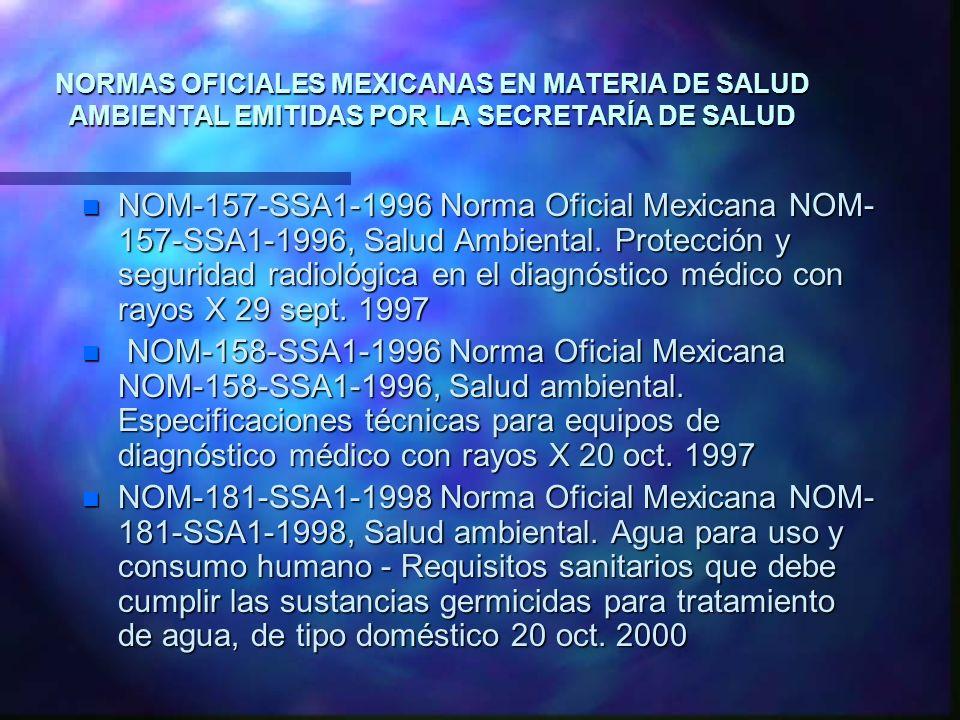 NORMAS OFICIALES MEXICANAS EN MATERIA DE SALUD AMBIENTAL EMITIDAS POR LA SECRETARÍA DE SALUD