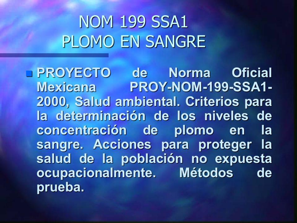 NOM 199 SSA1 PLOMO EN SANGRE