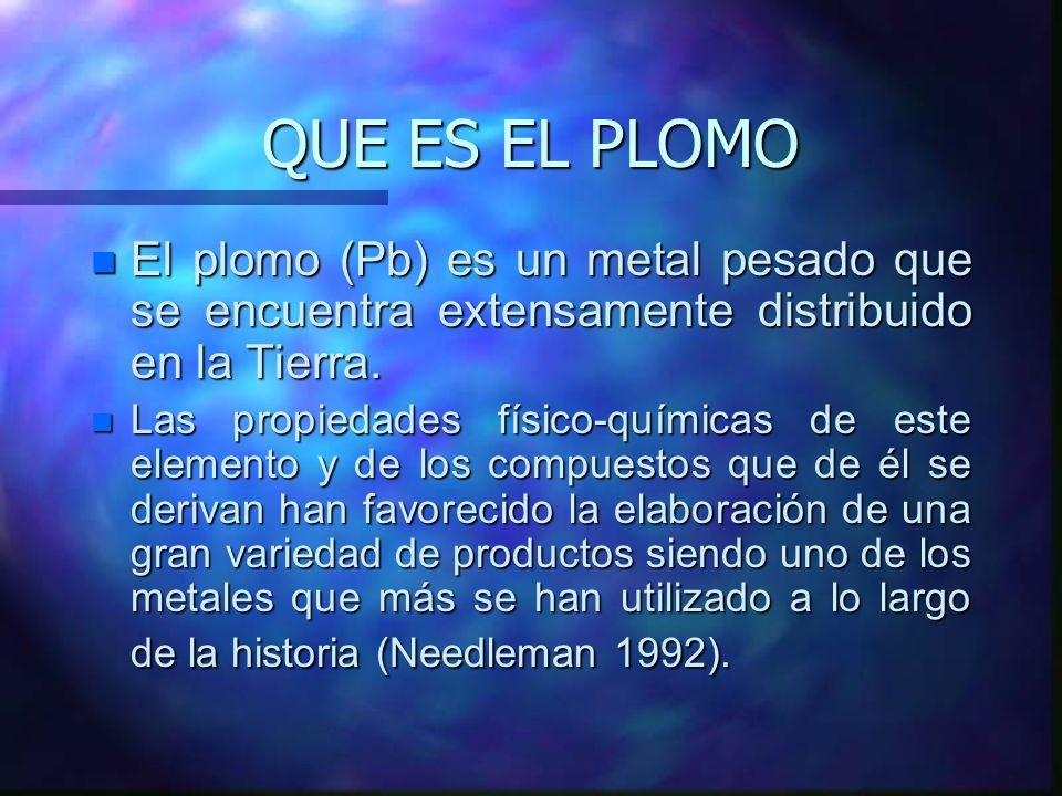 QUE ES EL PLOMO El plomo (Pb) es un metal pesado que se encuentra extensamente distribuido en la Tierra.
