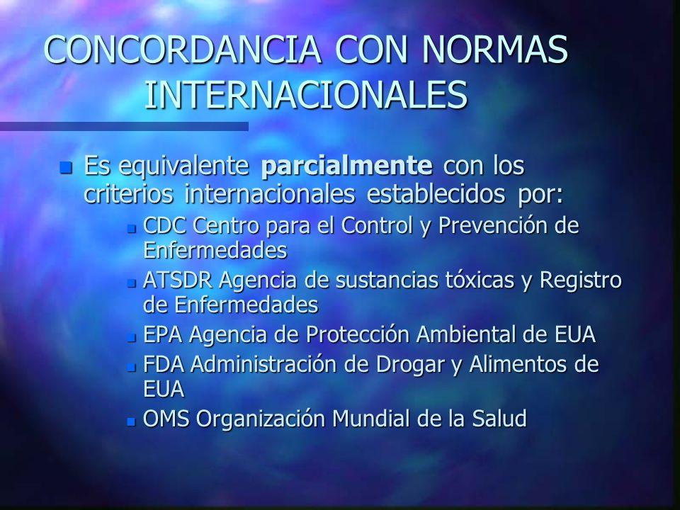 CONCORDANCIA CON NORMAS INTERNACIONALES