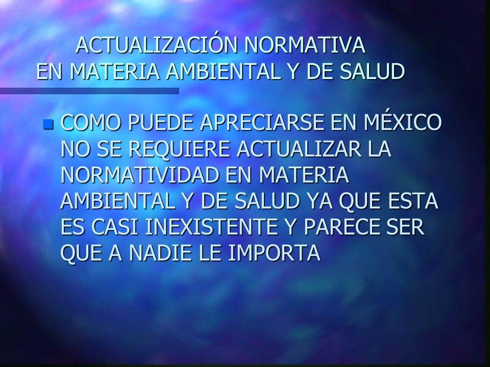 ACTUALIZACIÓN NORMATIVA EN MATERIA AMBIENTAL Y DE SALUD