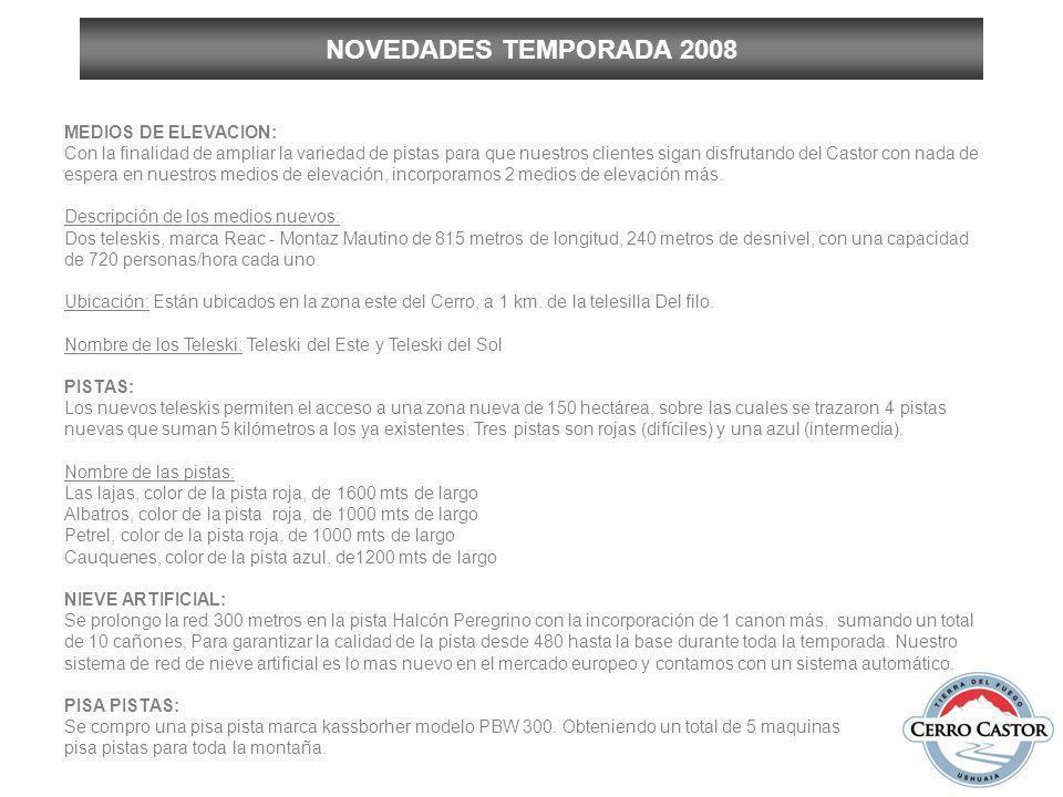 NOVEDADES TEMPORADA 2008 MEDIOS DE ELEVACION: