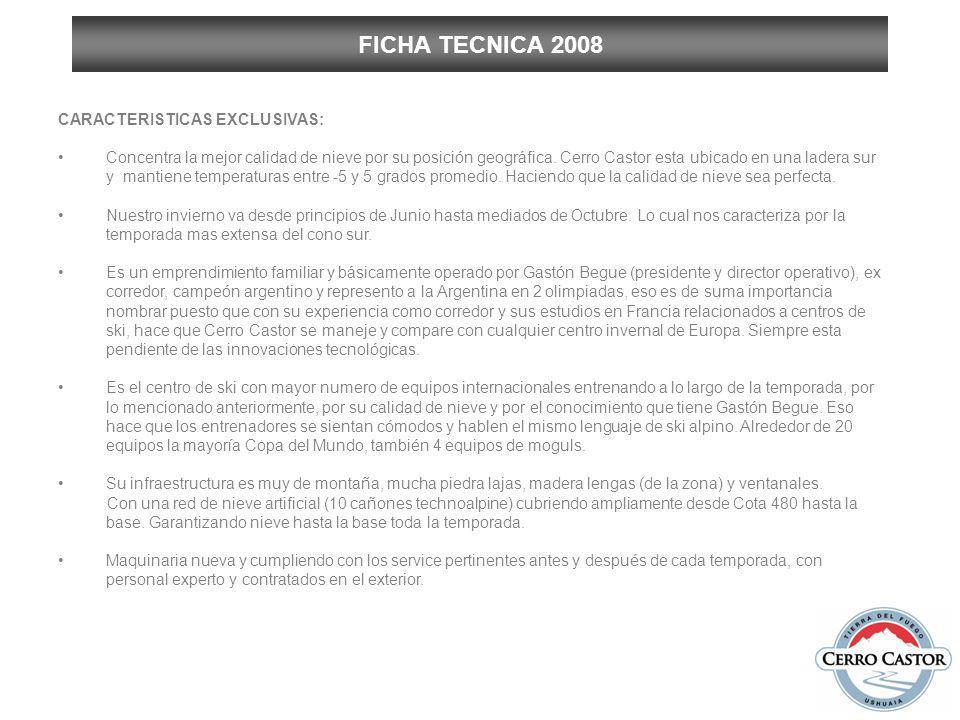 FICHA TECNICA 2008 CARACTERISTICAS EXCLUSIVAS: