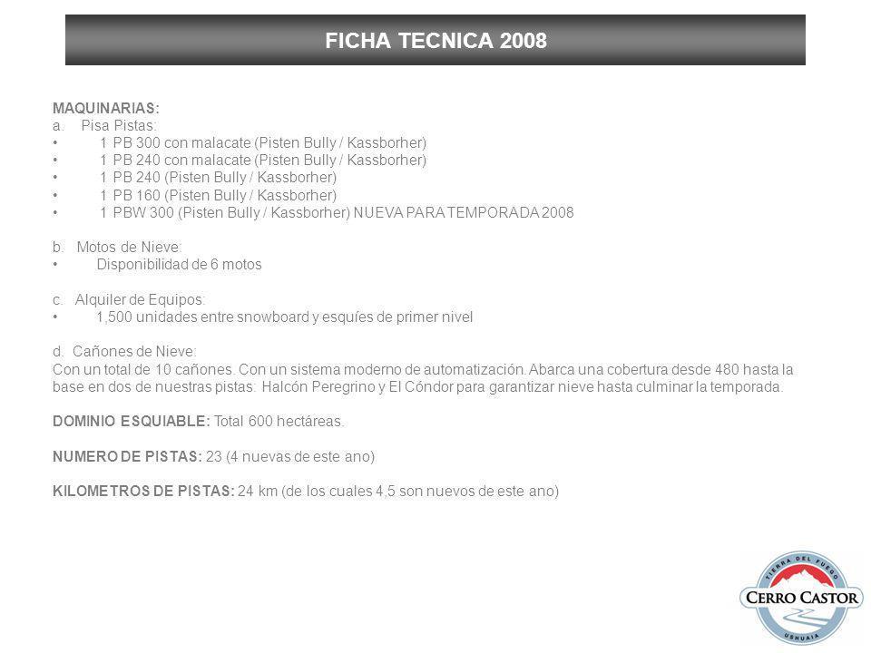 FICHA TECNICA 2008 MAQUINARIAS: a. Pisa Pistas: