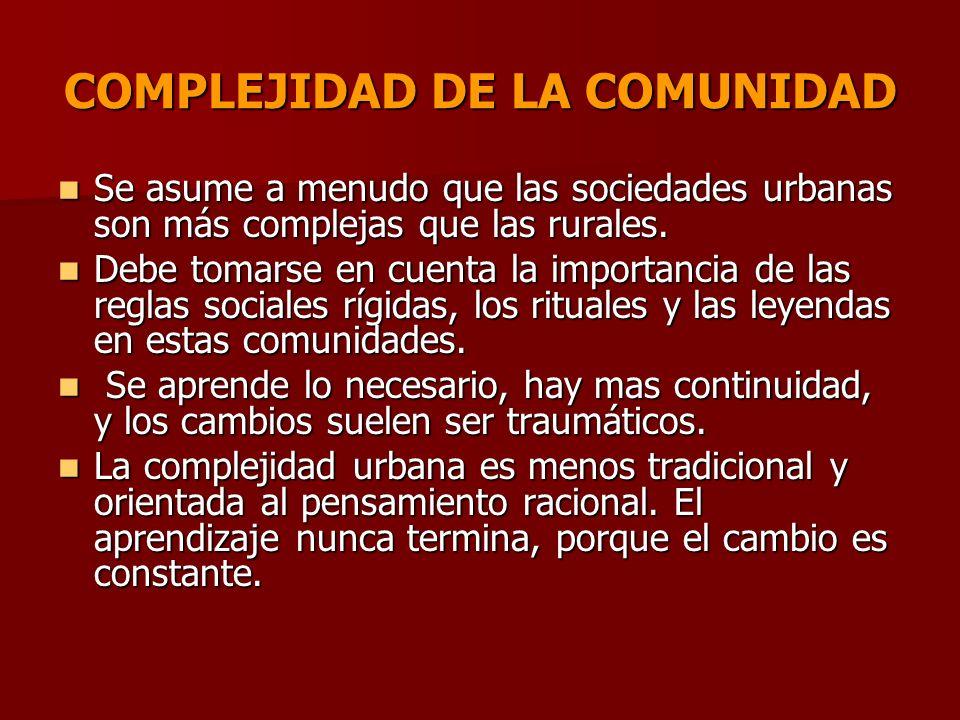 COMPLEJIDAD DE LA COMUNIDAD