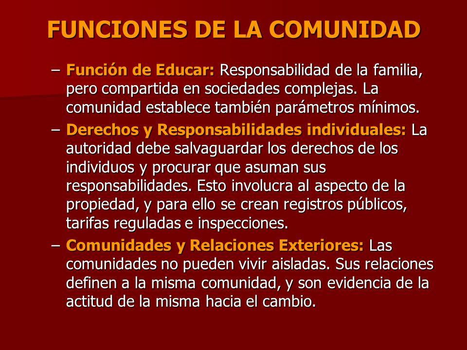 FUNCIONES DE LA COMUNIDAD