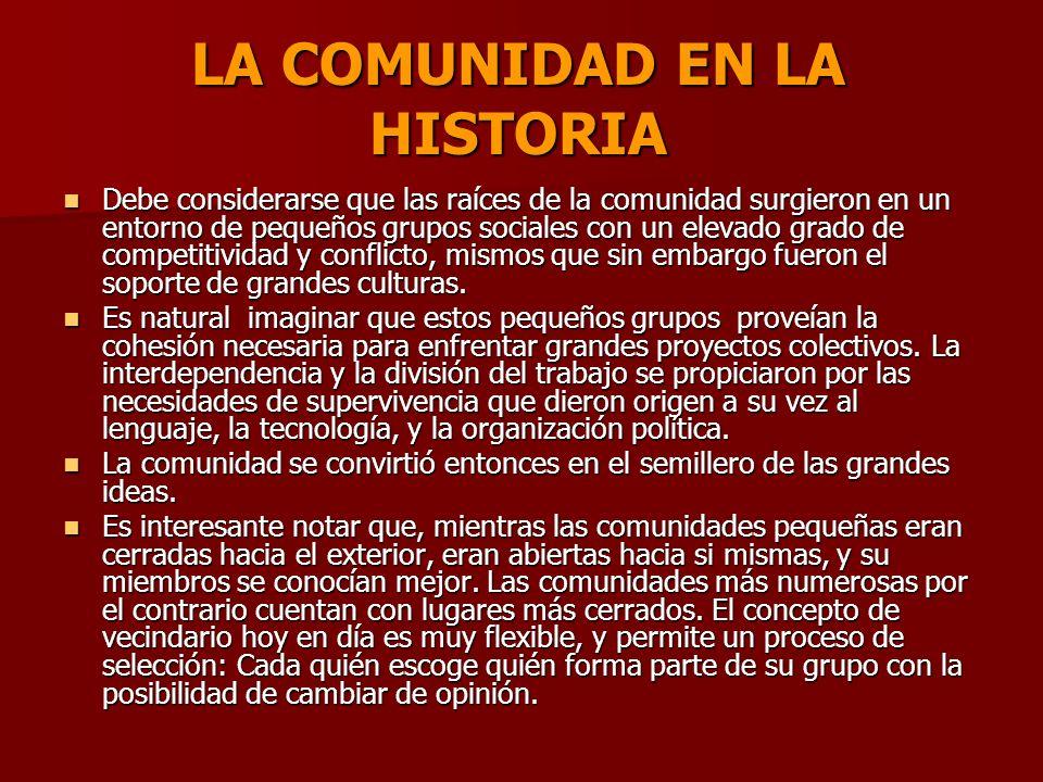 LA COMUNIDAD EN LA HISTORIA