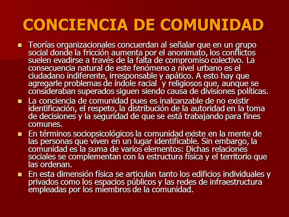 CONCIENCIA DE COMUNIDAD