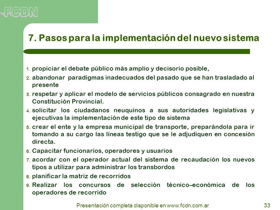 7. Pasos para la implementación del nuevo sistema