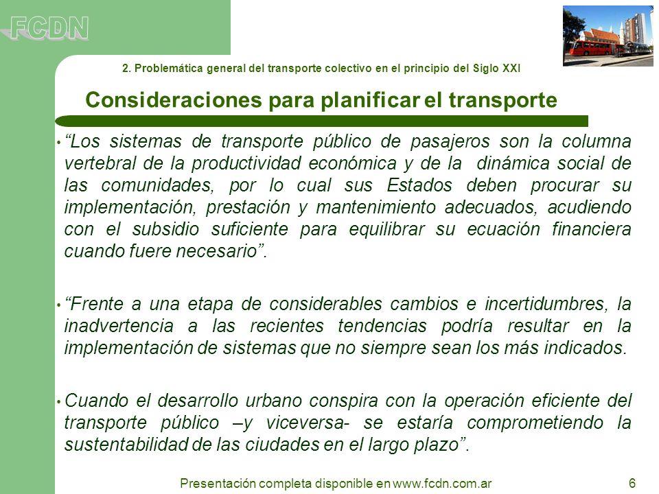 Consideraciones para planificar el transporte