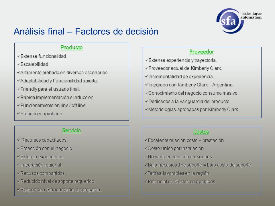 Análisis final – Factores de decisión