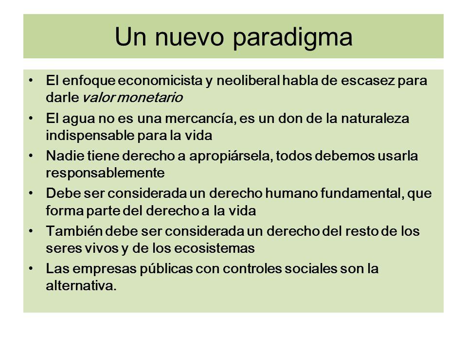 Un nuevo paradigma El enfoque economicista y neoliberal habla de escasez para darle valor monetario.