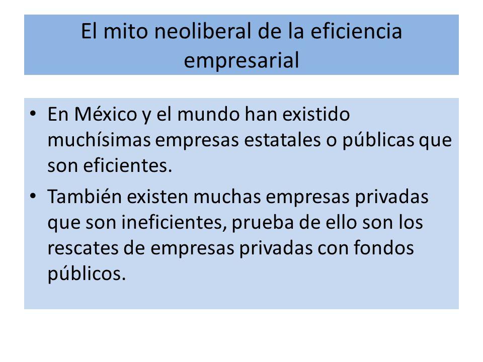 El mito neoliberal de la eficiencia empresarial