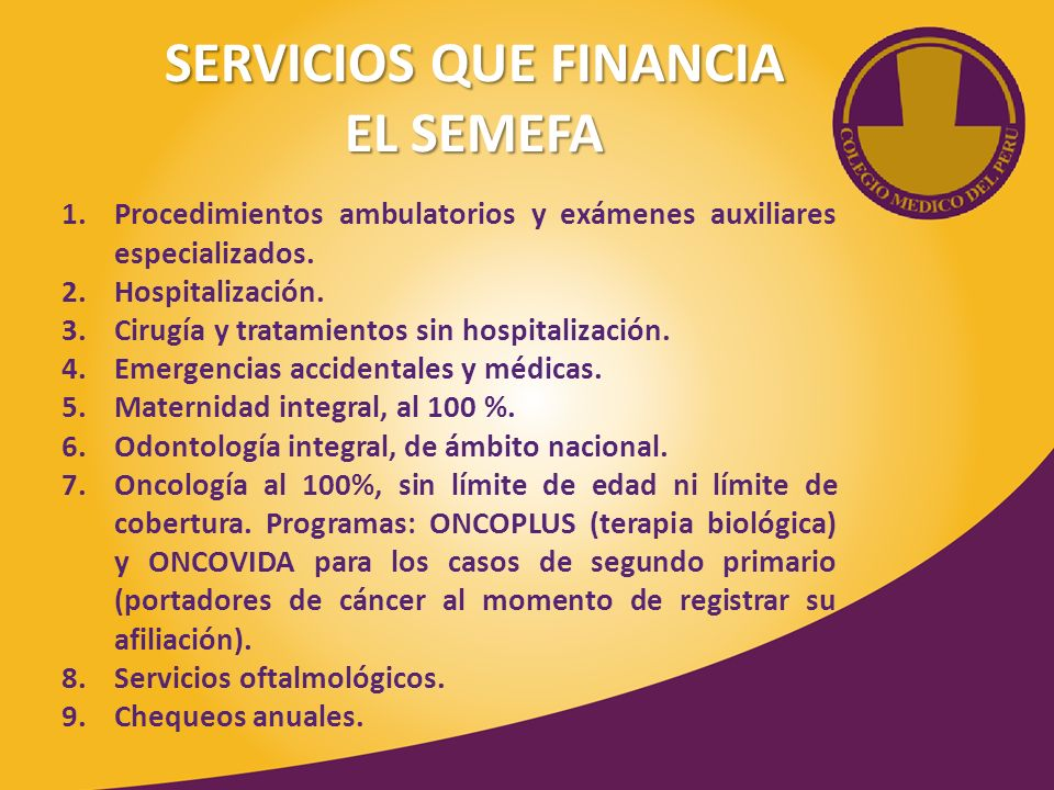 SERVICIOS QUE FINANCIA EL SEMEFA